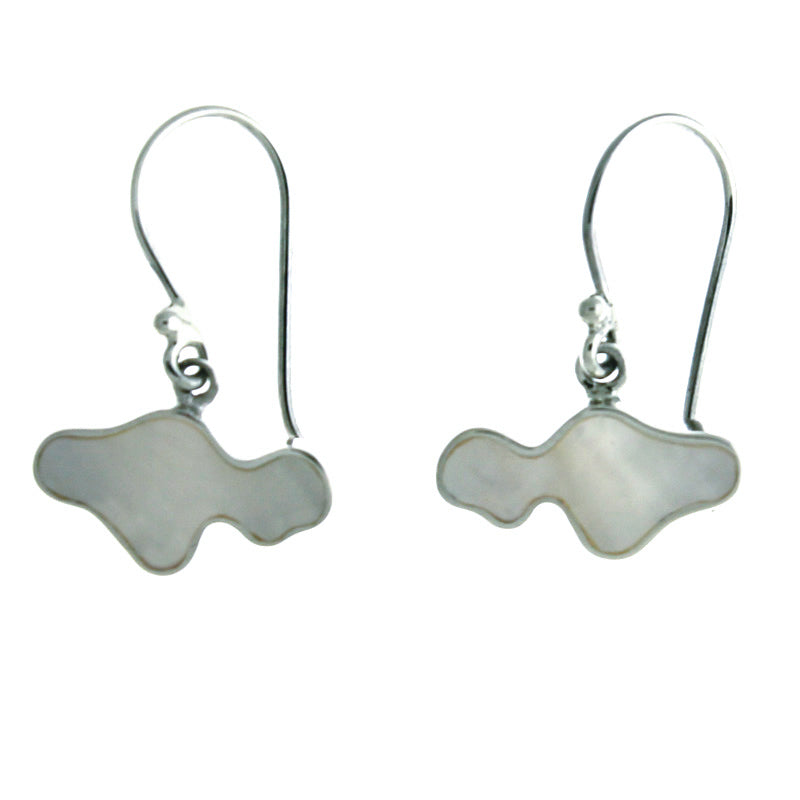 Delicate Maui Shaped Earrings with White Mother of Pearl