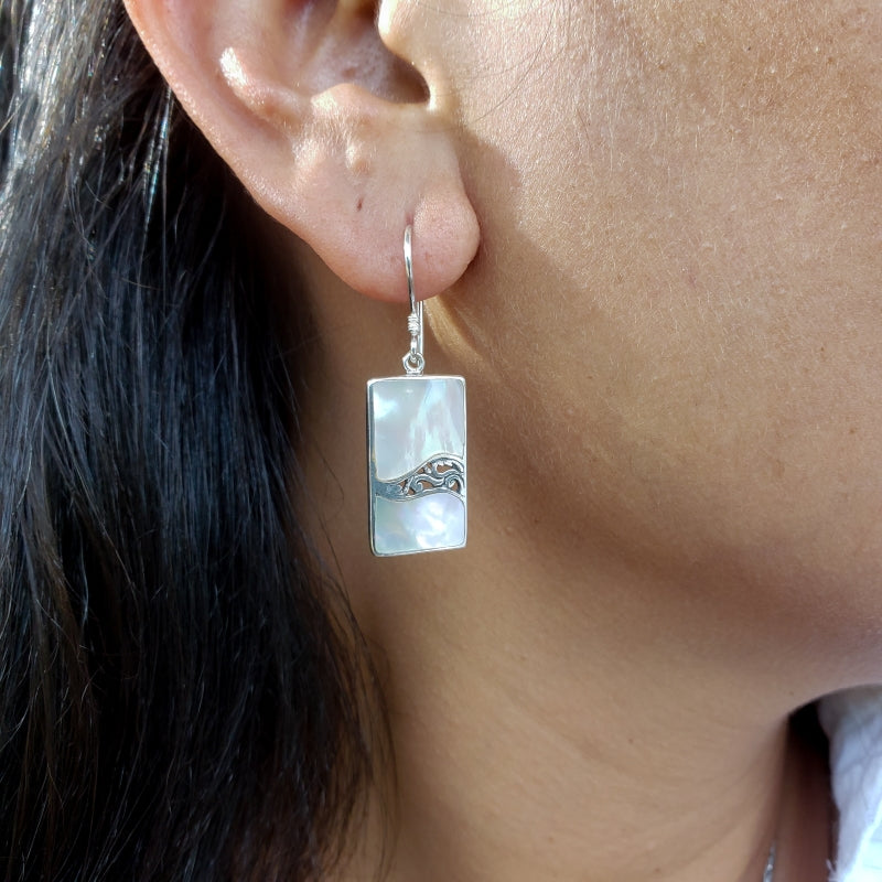 Rectangular White Mother of Pearl Earrings with Filigreed Sterling Silver Waves