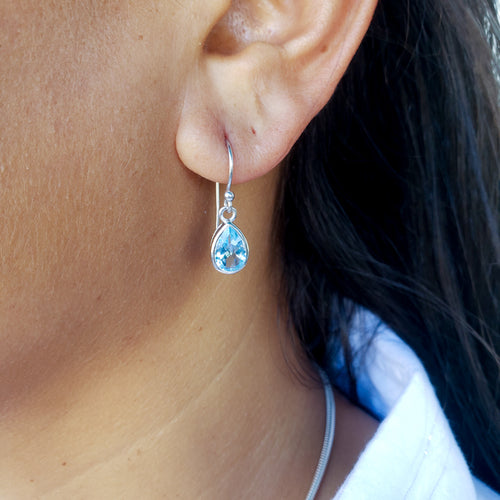 Droplet Blue Topaz Earrings
