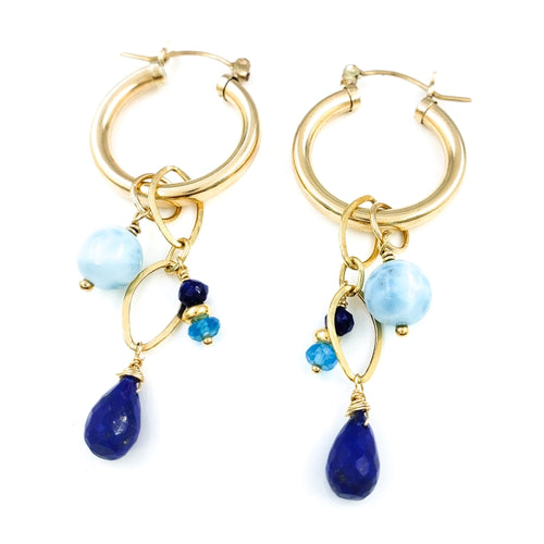 Round Gold Hoop Earrings with Larimar, Lapis Lazuli, and Apatite