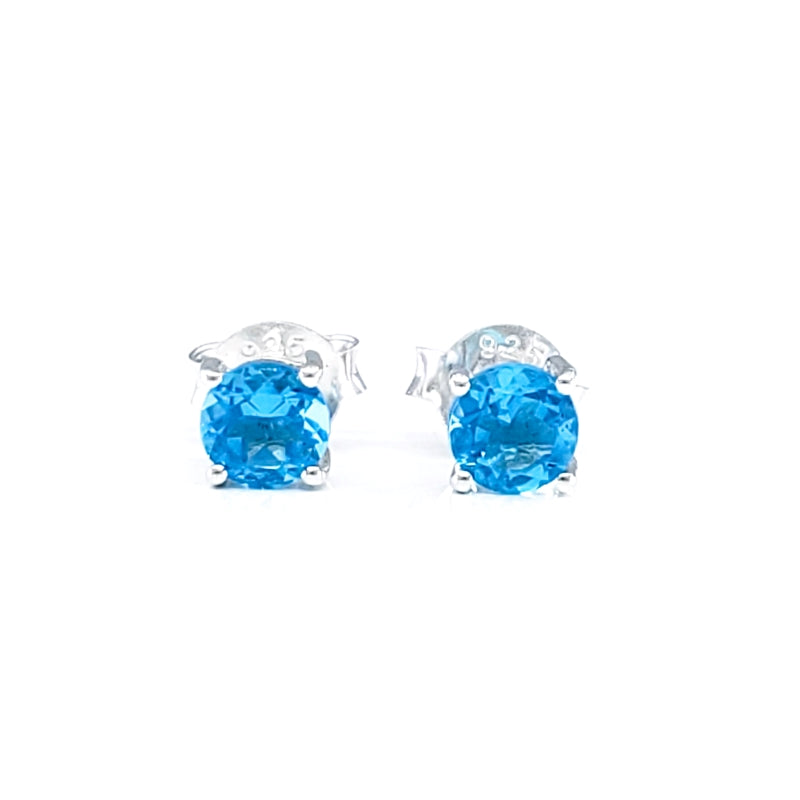 Round Blue Topaz Quartz Stud Earrings