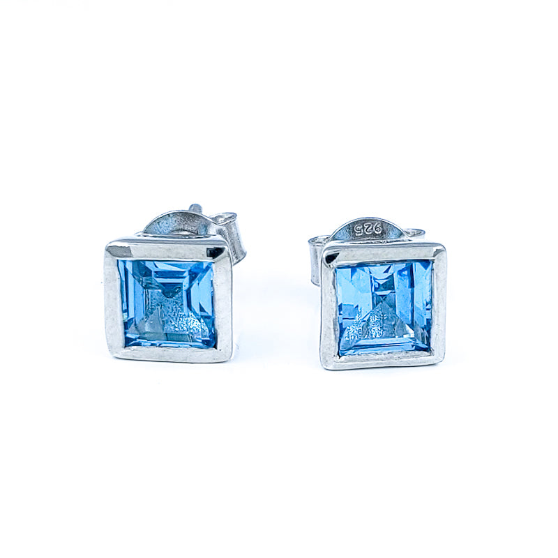 Square Blue Topaz Stud Earrings