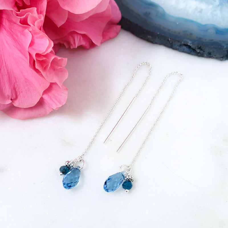 Sterling Silver Threader Earrings with Blue Topaz and Apatite