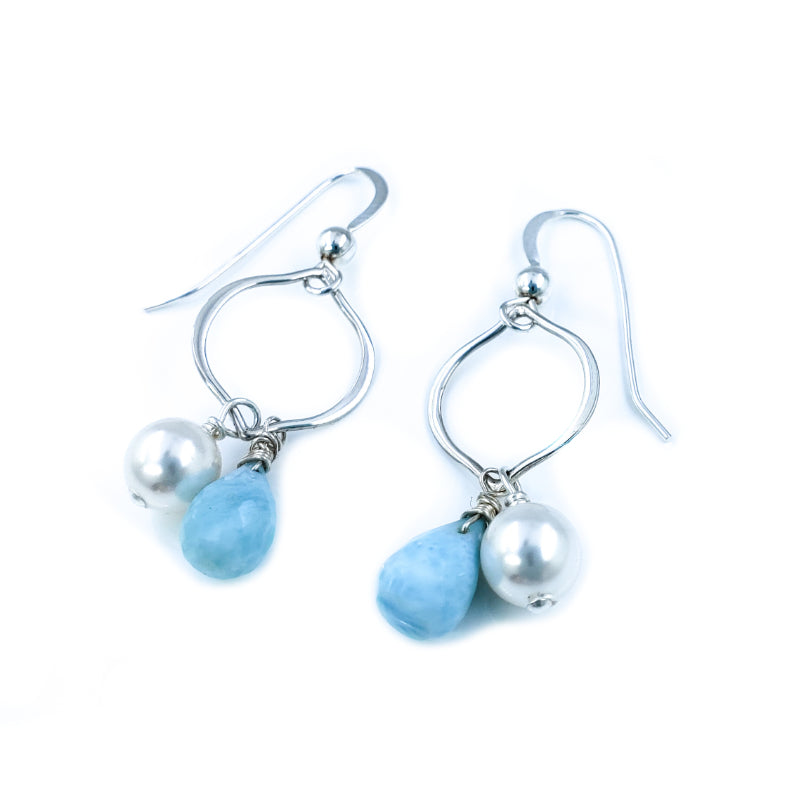 Small Sterling Silver Earrings with White Freshwater Pearls and Larimar