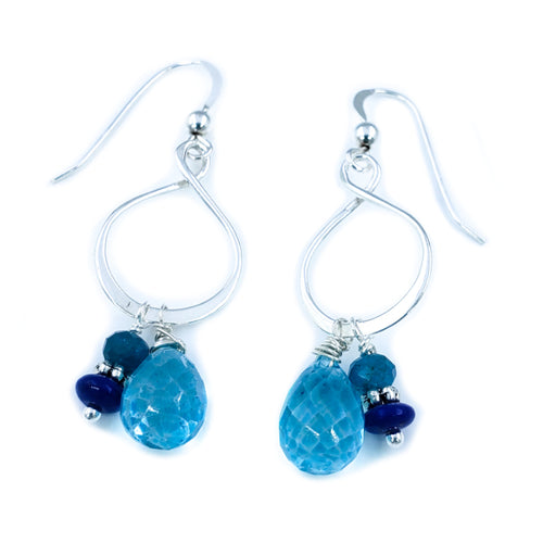 Sterling Silver Earrings with Blue Topaz, Apatite, and Lapis Lazuli