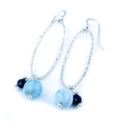 Oval Textured Sterling Silver Earrings with Larimar and Lapis Lazuli