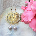 Gold Spiral Earrings with Pink Freshwater Pearls