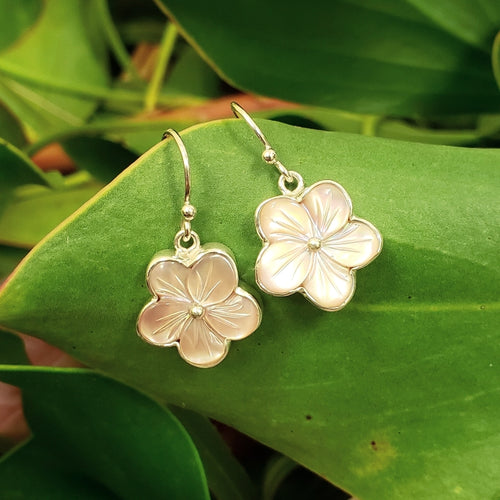 Pink Mother of Pearl Hibiscus Earrings