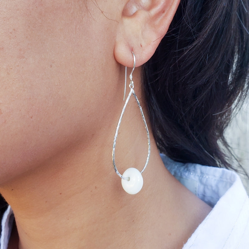 Hammered Droplet Earrings with Puka Shells