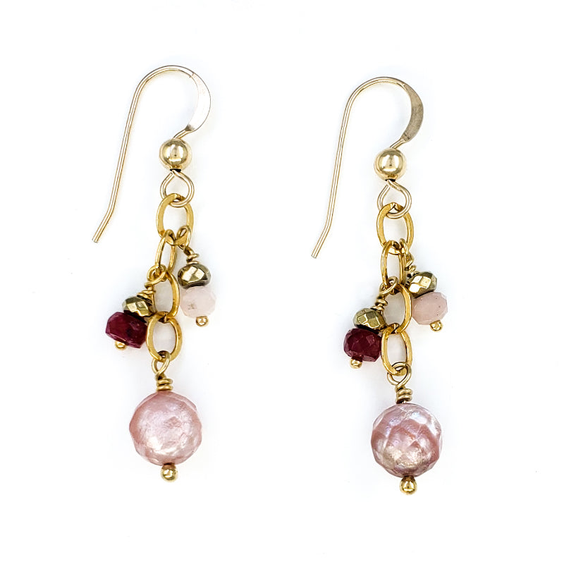 Pink Opal and Rubies Gold Earrings