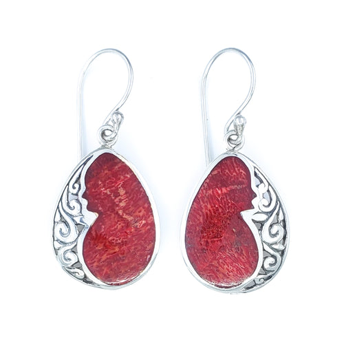 Filigreed Droplet Earrings with Red Coral