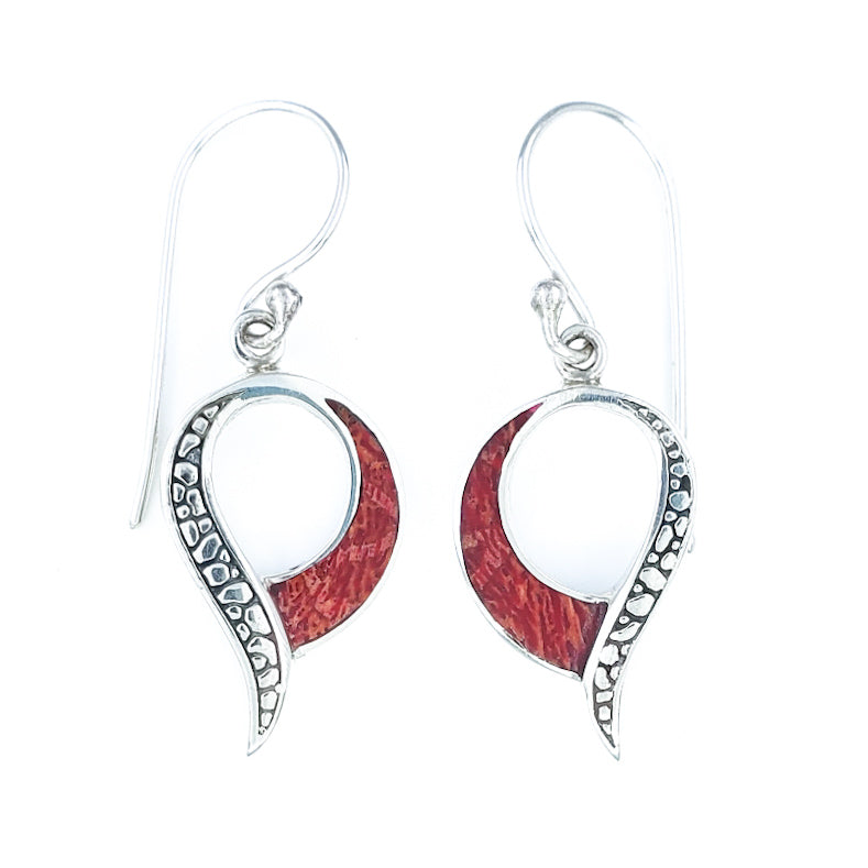 Dangling Red Coral Earrings with Silver Filigree
