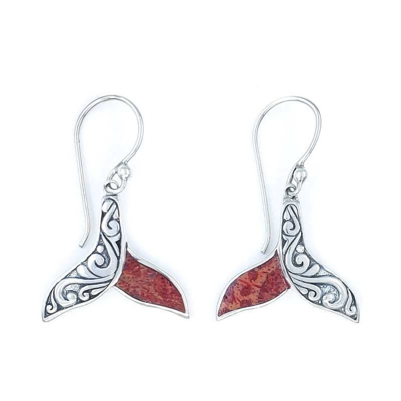Ornate Silver Whale Tail Earrings with Red Coral