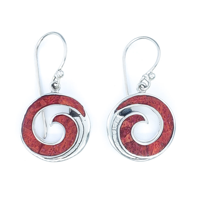 Round Maui Wave Earrings with Red Coral