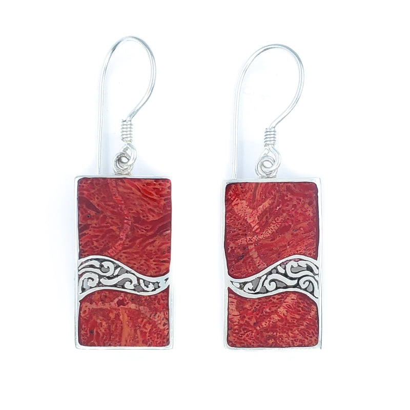 Rectangular Red Coral Earrings with Filigreed Sterling Silver Waves
