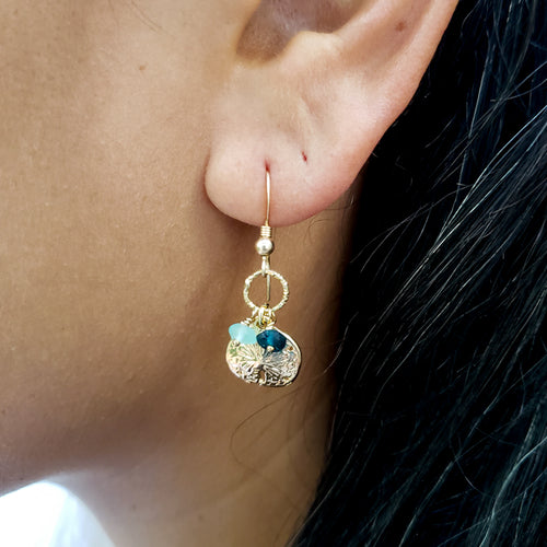 Gold Sand Dollar Earrings with Roman Glass