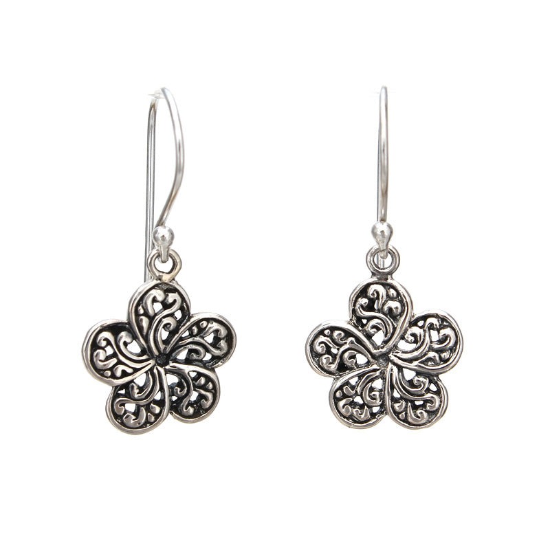 Small Ornate Plumeria Flower Earrings