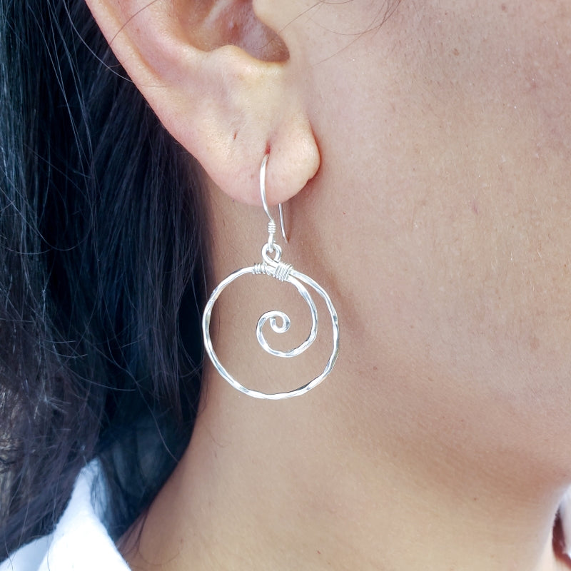 Hammered Sterling Silver Wave Earrings