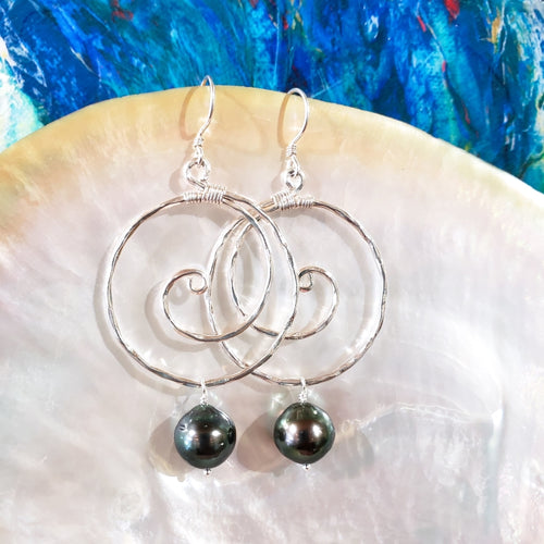 Large Hammered Sterling Silver Wave Earrings with Tahitian Pearls