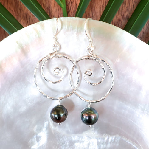 Small Hammered Sterling Silver Wave Earrings with Tahitian Pearls