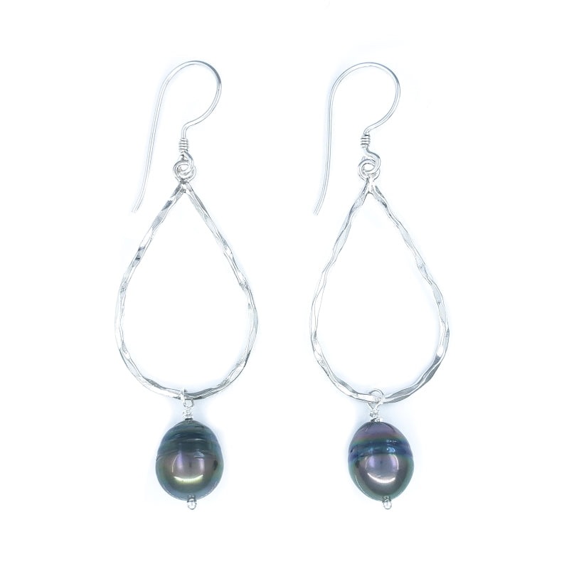 Small Hammered Sterling Silver Drop Earrings with Tahitian Pearls