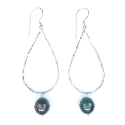 Large Hammered Sterling Silver Drop Earrings with Tahitian Pearls