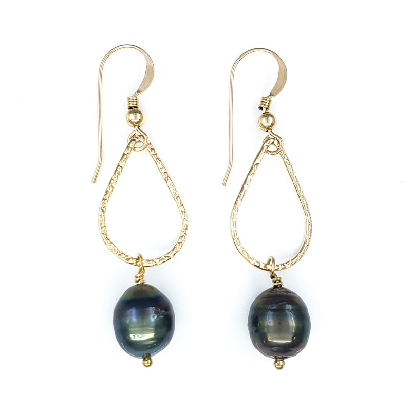 Droplet Gold Earrings with Tahitian Pearls