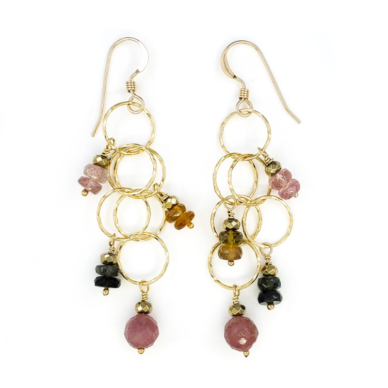 Long Dangly Gold Earrings with Watermelon Tourmaline