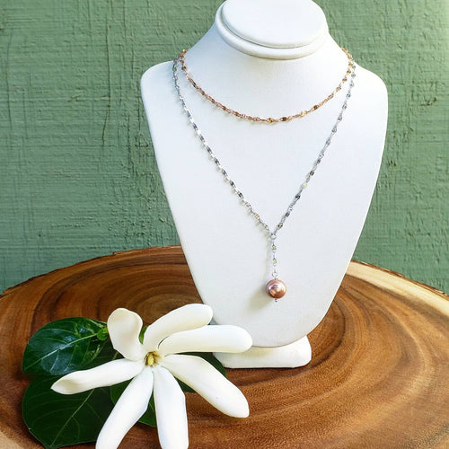Sterling Silver and Rose Gold Layer Necklace with Pink Edison Pearl