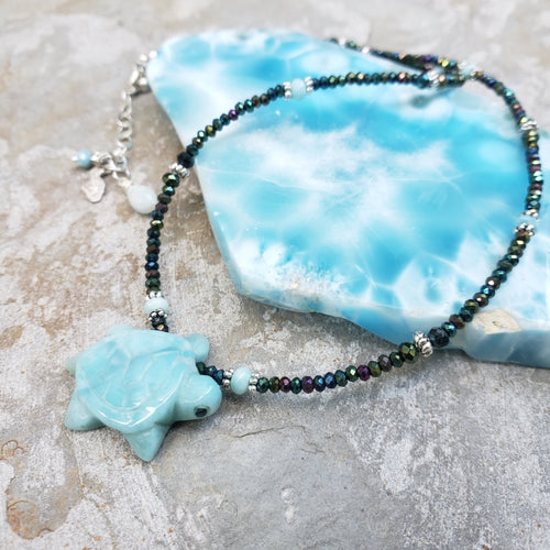 Hematite Necklace with Larimar Turtle