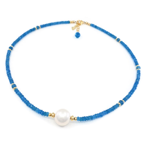 Apatite Gemstones Necklace with White Edison Pearl