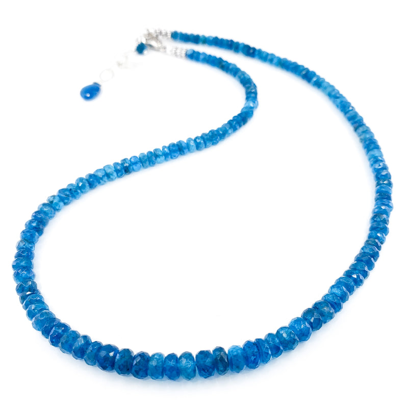 Beaded Apatite and Sterling Silver Necklace