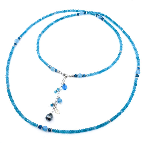 Long Apatite Necklace with Silver Beads and Tahitian Pearl