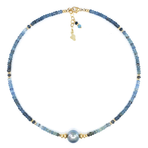 Aqua Gemstones Necklace with Gray Tahitian Pearl