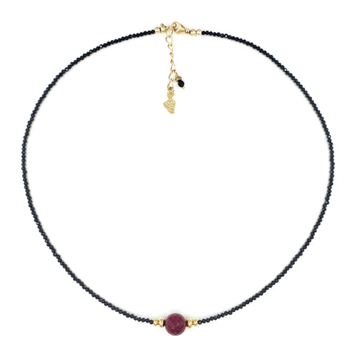 Black Spinel Necklace with 8mm Faceted Ruby Bead