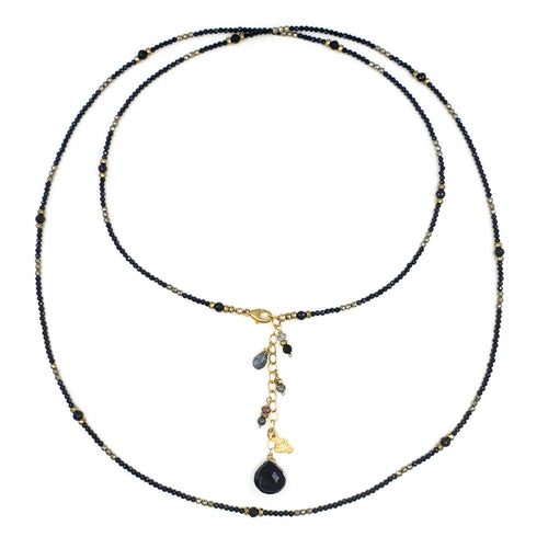 Long Black Spinel Necklace with Pyrite