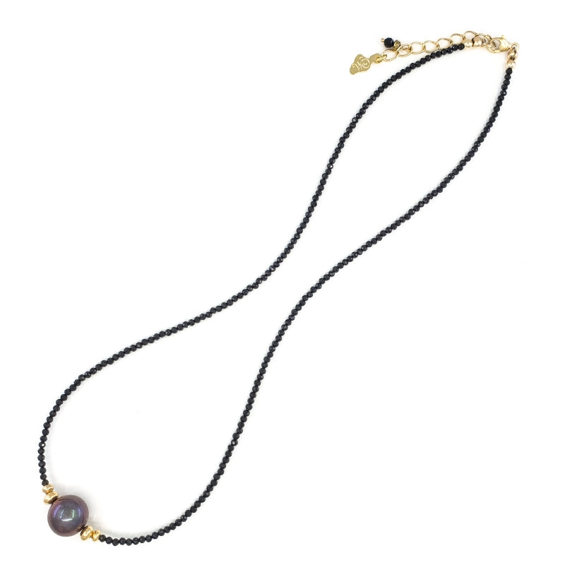 Black Spinel Necklace with 10mm Dark Freshwater Pearl