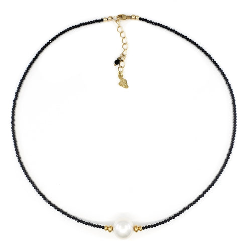 Black Spinel Necklace with 11mm White Freshwater Pearl