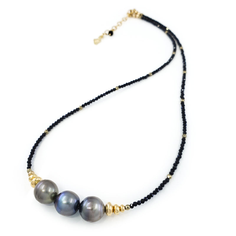 Black Spinel Gold Necklace with 3 Tahitian Pearls