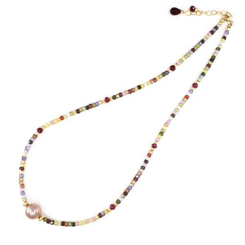 Multi Gemstones Necklace with 10mm Pink Edison Pearl