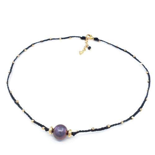 Braided Necklace with 10mm Purple Freshwater Pearl