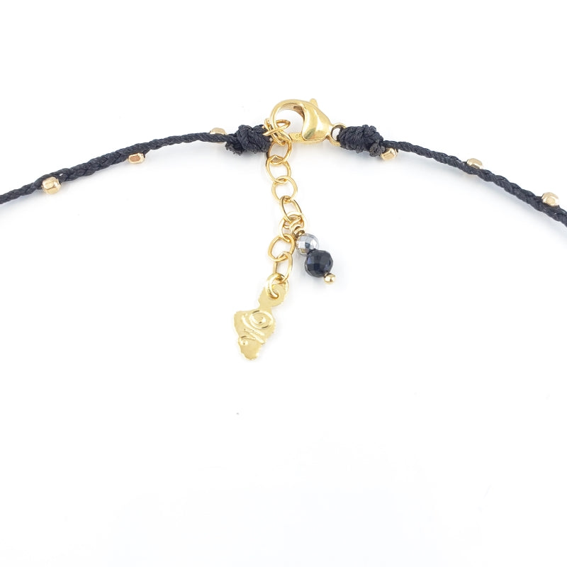 Black Braided Necklace with 10mm Dark Freshwater Pearl