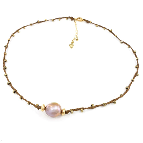 Brown Braided Necklace with Gold Gemstone Beads and Pink Fireball Pearl
