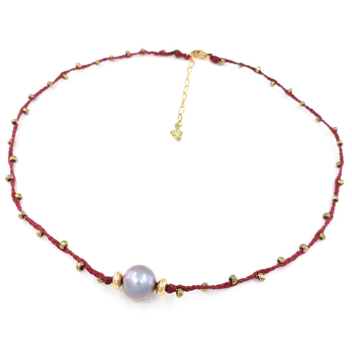 Red Braided Necklace with Gold Gemstone Beads and Pink Freshwater Pearl