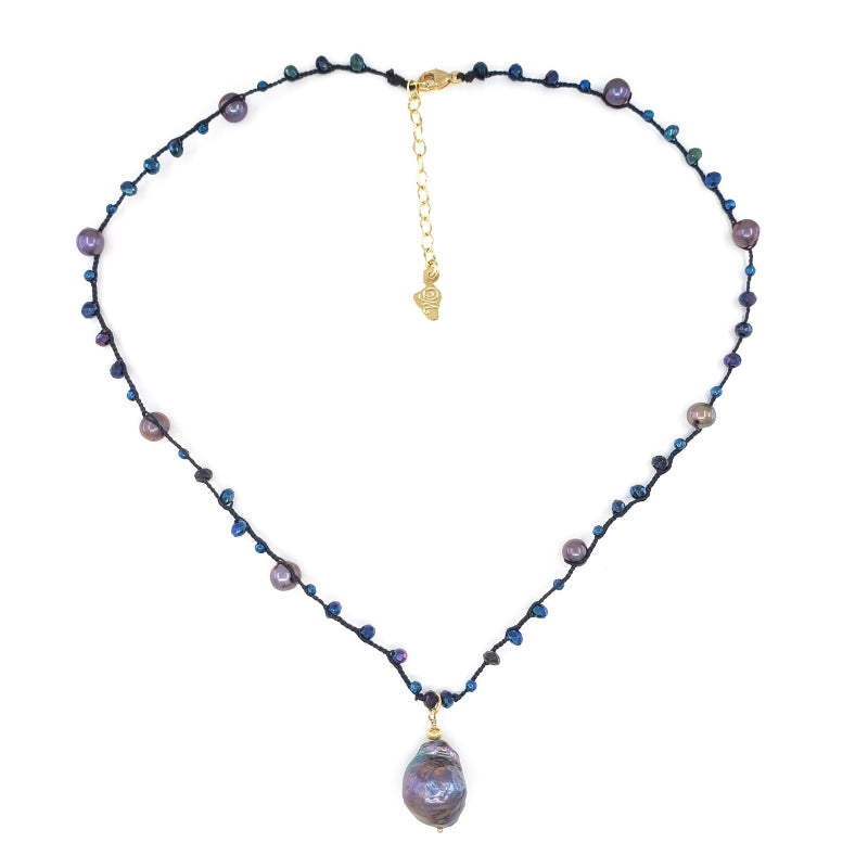 Black Braided Necklace with Blue Gemstone Beads and Purple Fireball Pearl