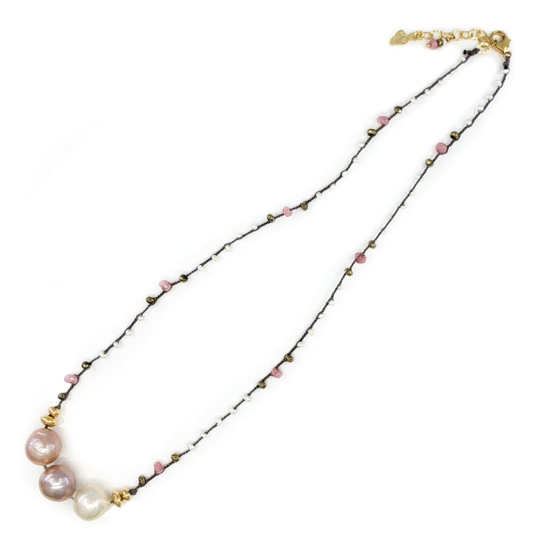 Gray Braided Necklace with Pink and Gold Gem Beads and 3 Fireball Pearls