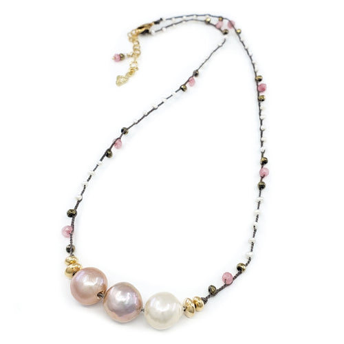 Gray Braided Necklace with Pink and Gold Gemstone Beads and 3 Fireball Pearls
