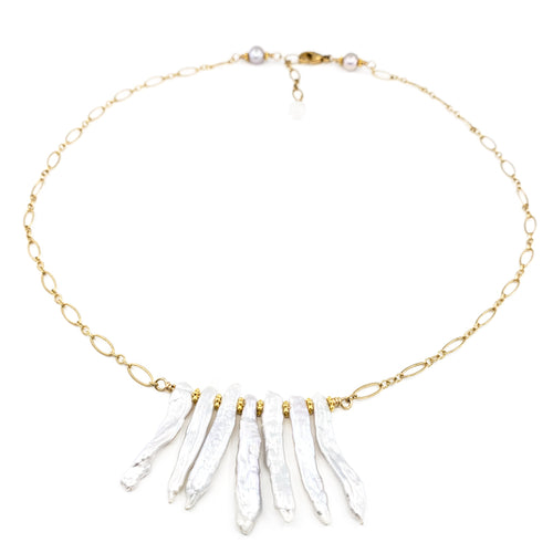 Biwa Pearls Gold Necklace