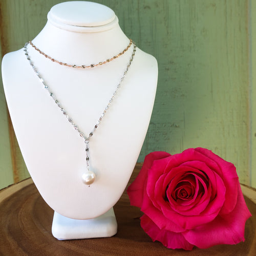 Sterling Silver and Rose Gold Layer Necklace with White Edison Pearl