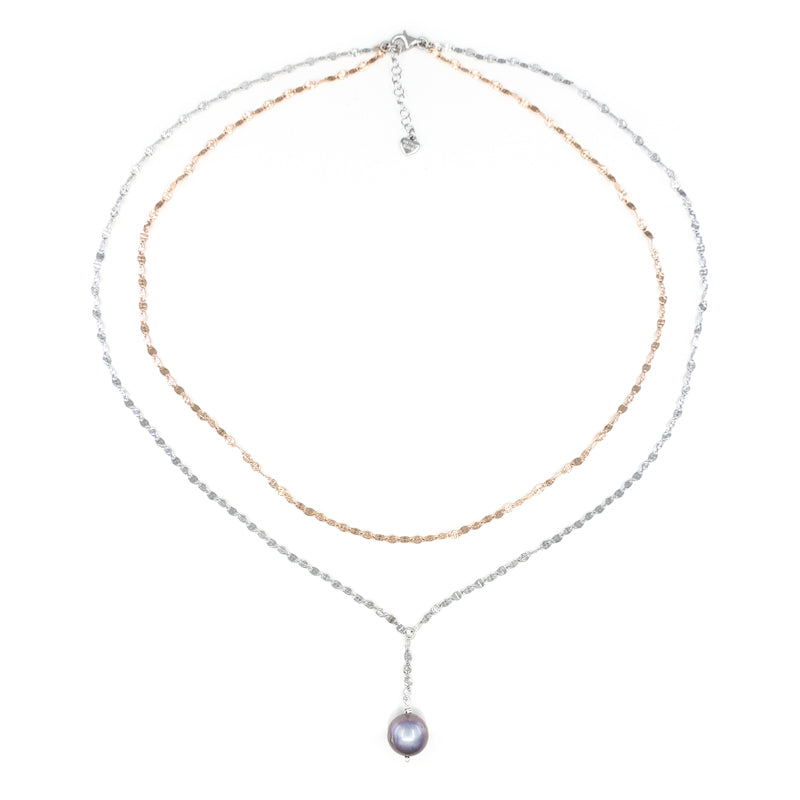 Sterling Silver and Rose Gold Layer Necklace with Lavender Freshwater Pearl